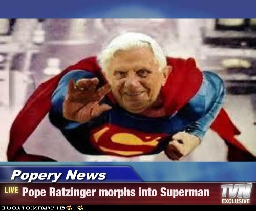 Paus Ratzinger verandert in Superman