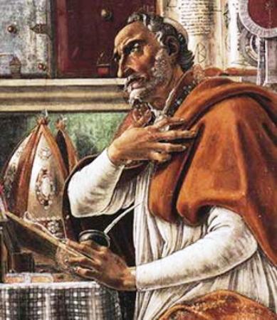 Sint Augustinus in gebed, door Sandro Botticelli
