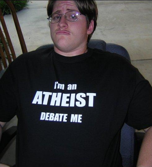 Zijn atheïsten echt zo dom? T-shirt met 'I'm an atheist, debate me'.