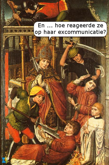 Nadat Lambertus van Maastricht Pepijn van Herstal en zijn minnares excommuniceerde vanwege hun hardnekkige buitenechtelijke affaire, liet de minnares hem en zijn leerlingen vermoorden.