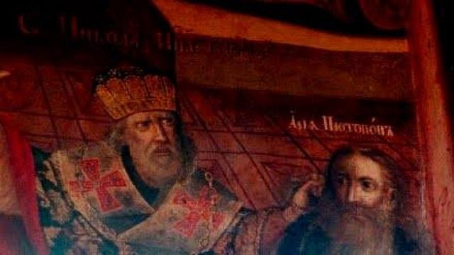 Sinterklaas gebruikt een krachtig argument tegen de ideeën van Arius tijdens het Eerste Concilie van Nicea.
