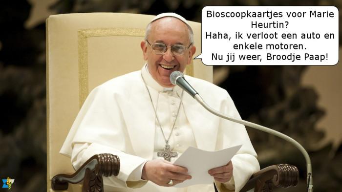 Dachten we net vrijgevig te zijn door bioscoopkaartjes te verloten, doet de paus er een schepje bovenop!