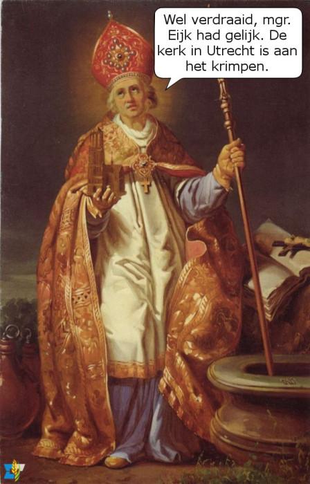 De heilige Willibrord wordt vaak afgebeeld met een miniatuur van de dom van Utrecht. Voorzag hij al de krimpende kerk?