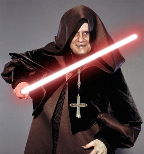 Benedictus XVI deed ook regelmatig aan Star Wars cosplay.