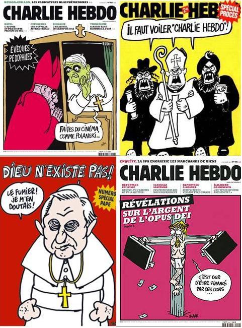Het tijdschrift Charlie Hebdo dreef ook regelmatig de spot met de katholieke Kerk.
