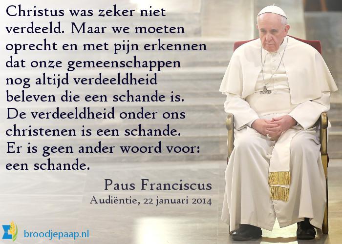 Paus Franciscus over de verdeeldheid onder christenen.