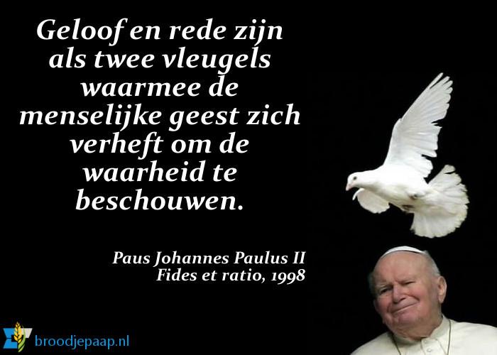 In zijn encycliek Fides et ratio gaat paus Johannes Paulus II uitgebreid in op de relatie tussen geloof en rede.