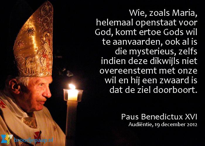 Paus Benedictus XVI over de wil van God.