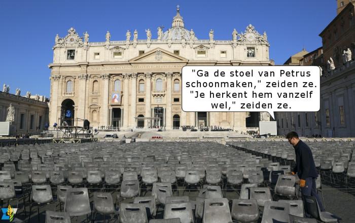 Ook op het Vaticaan houden ze stagiaires zo nu en dan voor de gek. Het feest van Sint Petrus' Stoel te Rome is wat dat betreft een buitenkansje.
