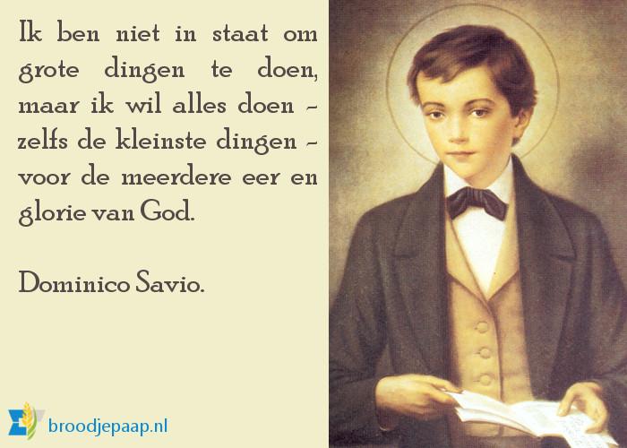 De heilige Dominico Savio (2 april 1842 - 9 maart 1857) was een vrome jongeman.