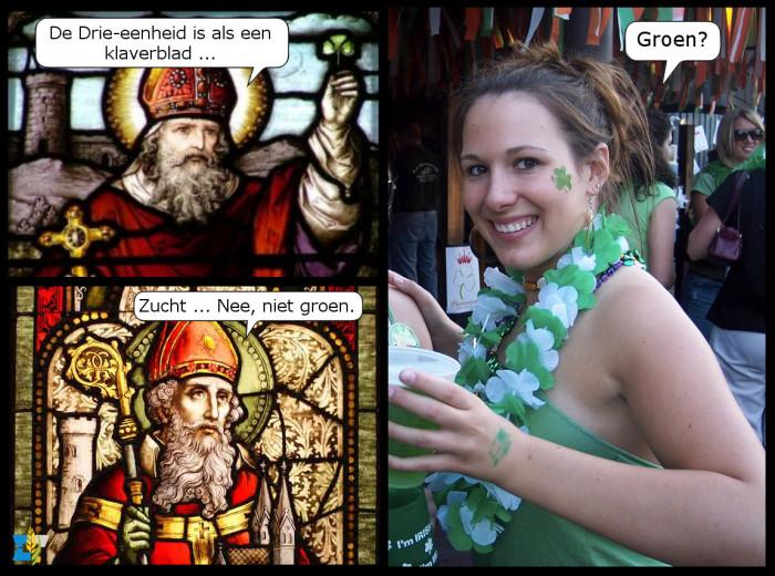 De heilige Patricius, of Saint Patrick, legt de Drie-eenheid uit aan de Ieren. Althans, hij probeert het toch.