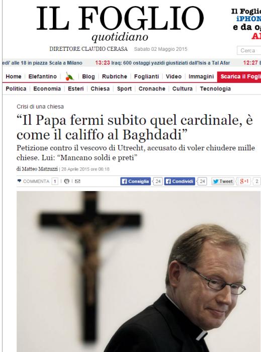 Il Foglio vergelijkt Eijk met kalief al-Baghdadi.
