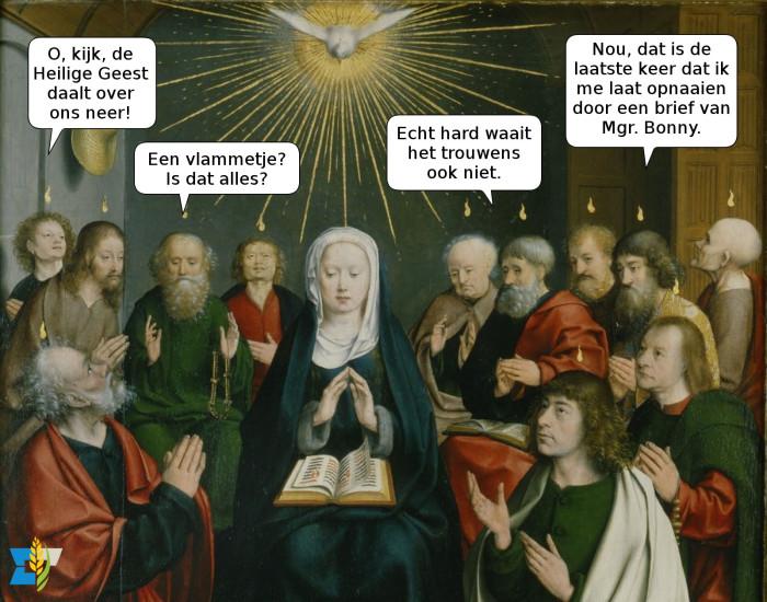 De apostelen lijken niet echt onder de indruk van de storm en de vuurtongen.