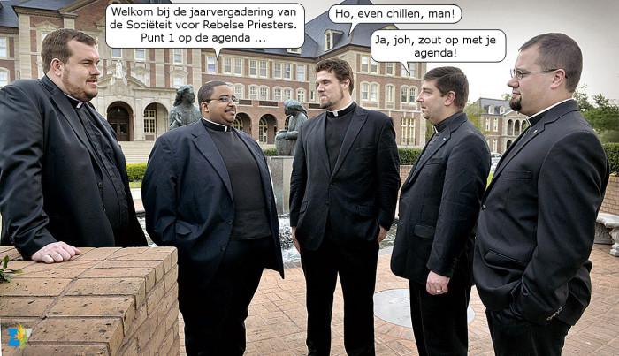 De sfeer in de Sociëteit van Rebelse Priesters was soms nogal gespannen.
