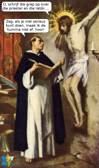 Sint Thomas is aan het brainstormen met Onze Lieve Heer.