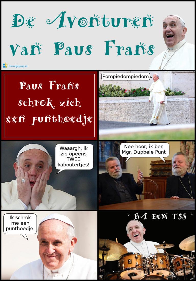 Paus Frans schrikt zich een hoedje van Mgr. Dubbele Punt