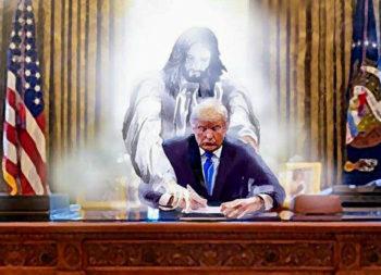 Verafgoding van politiek? Jezus begeleidt de hand van Donald Trump die een wet tekent.